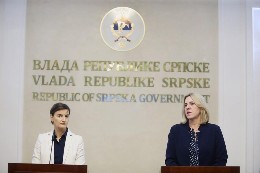 """""""SRBIJA KAO REGIONALNI LIDER"""" Predsjednica Cvijanović čestitala Brnabićevoj izbor za predsjednicu Vlade"""