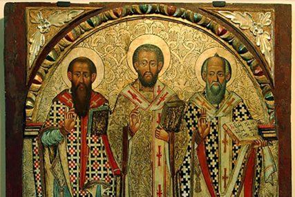 SUTRA SVETA TRI JERARHA Rasprava o tome ko je od ovih svetitelja najveći prijetila je ozbiljnoj podjeli u narodu i Crkvi
