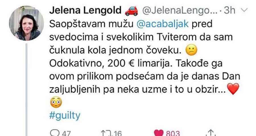 """INTERNET U SUZAMA Jelena """"čuknula"""" auto pa mužu ostavila URNEBESNU poruku, njegov odgovor KIDA"""