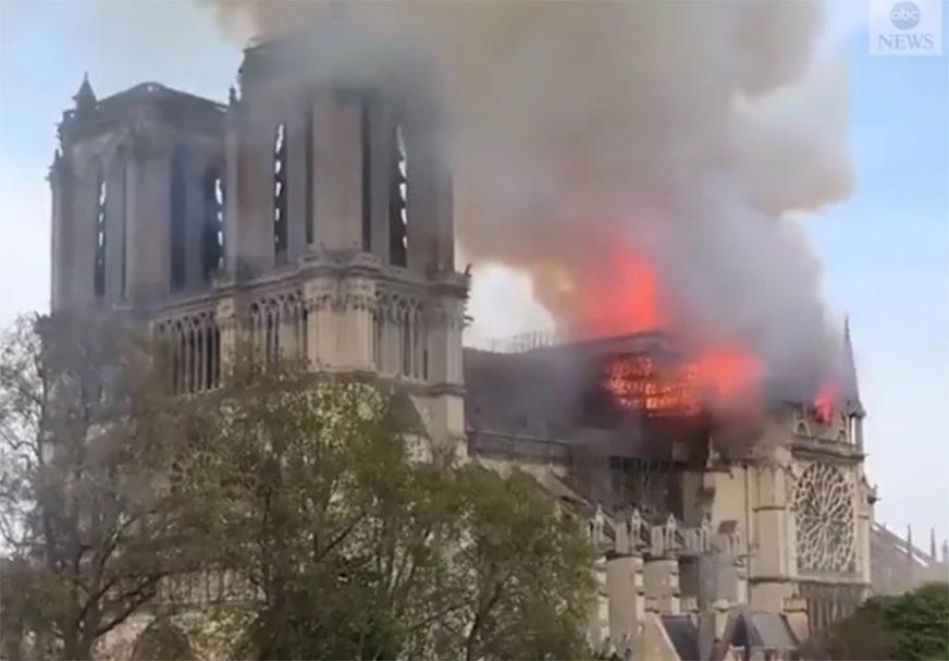 GORI NOTR DAM Požar na krovu čuvene katedrale u Parizu (VIDEO, FOTO)