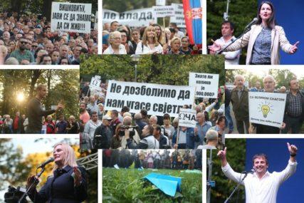 """""""RAČUN PO RAČUN-PENZIJA"""" Protest opozicije i građana protiv mogućeg poskupljenja struje u Srpskoj (FOTO)"""
