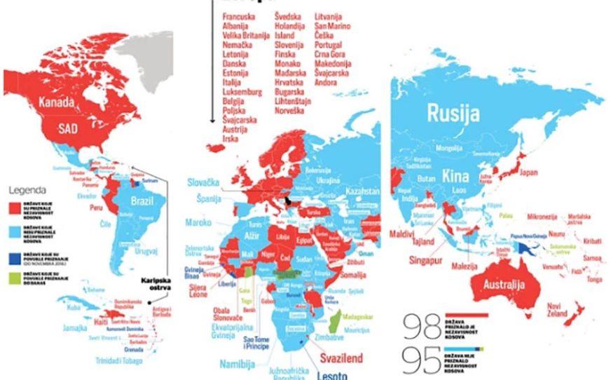 OVAKVO JE STANJE U SVIJETU Mala razlika između zemalja koje priznaju i ne priznaju Kosovo (MAPE)