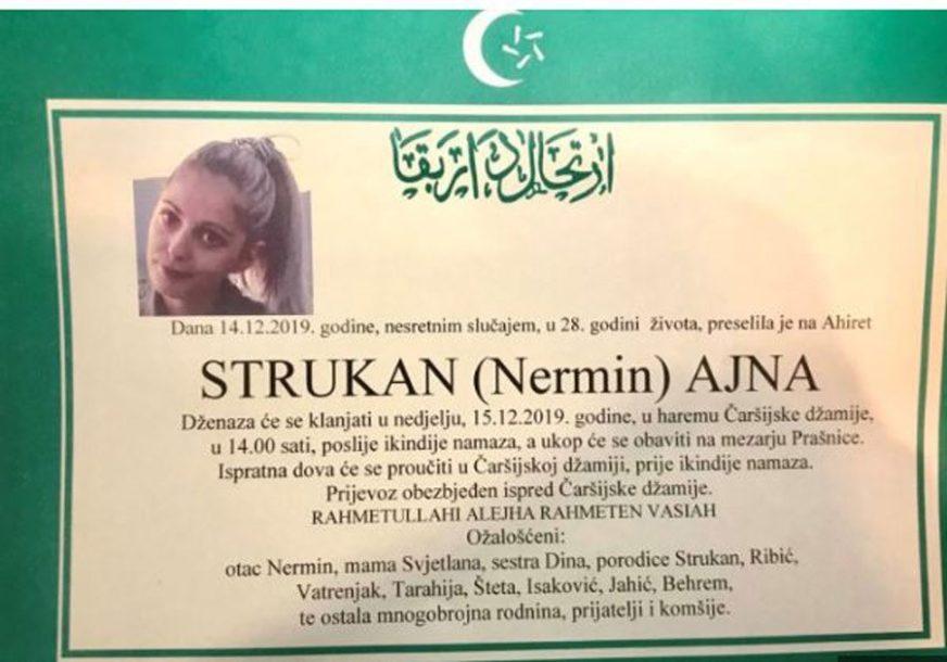 ZENICA OBAVIJENA TUGOM Sutra sahrana Ajne (28) stradale u stravičnoj nesreći
