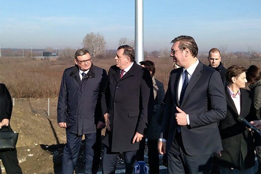 """VRIJEDNOST RADOVA 233 MILIONA DOLARA Dodik i Vučić na otvaranju dionice auto-puta """"Miloš Veliki"""""""