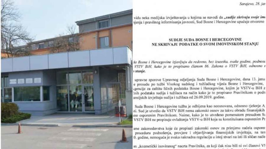 OTVORENO PISMO Sudije Suda BiH tvrde da NE KRIJU podatke o svojoj imovini (FOTO)