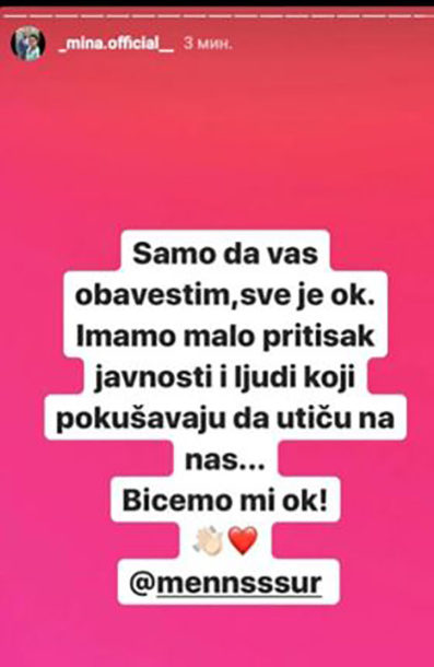 Foto: Mina Vrbaški/Instagram screenshot