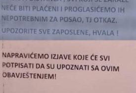 """""""KO SE ZARAZI KORONOM DOBIĆE OTKAZ"""" Šokantno upozorenje radnicima marketa u Banjaluci"""