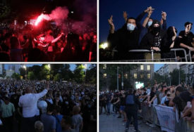 HULIGANI ISPROVOCIRALI NEREDE Poslije dva sata zasipanja kamenicama Žandarmerija rastjerala demonstrante (FOTO, VIDEO)