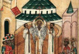 DANAS PRAVOSLAVCI PROSLAVLJAJU KRSTOVDAN Praznik posvećen pronalasku krsta na kojem je razapet Isus Hrist