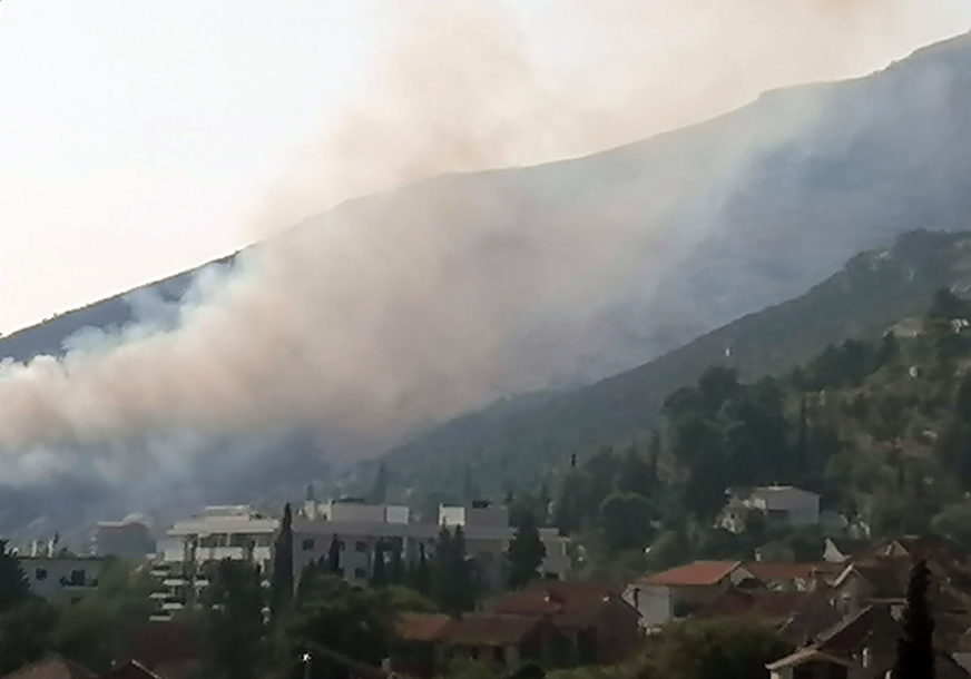 NEPRISTUPAČAN TEREN NAJVEĆI PROBLEM Požar u blizini Trebinja još uvijek aktivan, vjetar brzo širi plamen