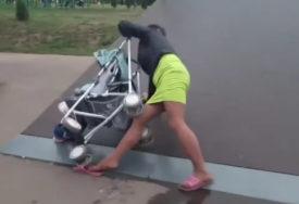 ŠOKANTAN SNIMAK Pijana majka umalo ubila svoju bebu u kolicima (VIDEO)
