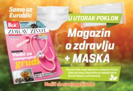 U UTORAK DVA POKLONA UZ EUROBLIC Ko kupi novine 13. oktobra dobiće MASKU I MAGAZIN O ZDRAVLJU
