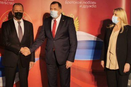 LAVROV STIGAO U SRPSKU Ruski šef diplomatije u Istočnom Sarajevu, dočekali ga Dodik i Cvijanovićeva
