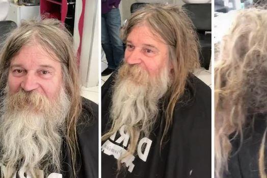 MNOGI ODUŠEVLJENI NOVIM IZGLEDOM Obrijao i ošišao beskućnika, on se transformisao u BRUTALNOG FRAJERA (FOTO)