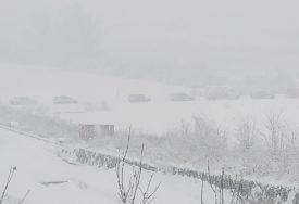 Snijeg napravio problem u Bastasima: Srušena bandera i drvo BLOKIRALI PUT