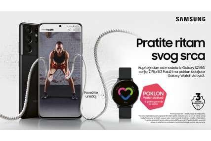 PRATITE RITAM SVOG SRCA Uz kupljeni telefon iz Samsung S21 serije, Z Flip ili Z Fold2 dobijate tri godine garancije i na poklon Galaxy Watch Active2