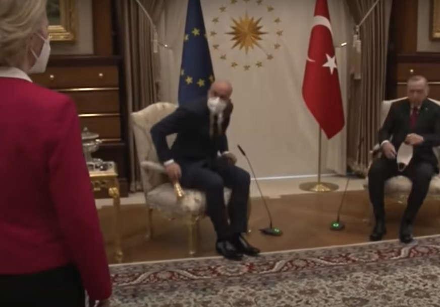 """""""Sraman čin, diplomatski fijasko"""" Predsjednica Komisije EU OSTALA BEZ STOLICE prilikom susreta sa Erdoganom (VIDEO)"""
