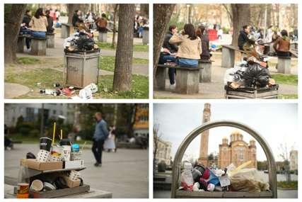 Prizori kakve Banjaluka NE PAMTI: Parkovi puni smeća, ostaci kartonskih čaša razbacani na sve strane (FOTO)
