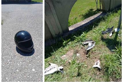 Kaciga i dijelovi još stoje po putu: Maloljetni drugari se motorom zakucali u banderu, poginuo tinejdžer (FOTO)