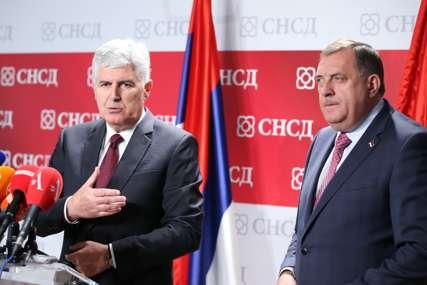 """""""Ojačati parlamentarnu saradnju SNSD i HDZ"""" Čović nakon sastanka delegacija dvije stranke"""