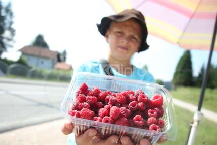 Jovanče sa Manjače NE ODUSTAJE: Vrijedni dječak od ranog jutra putnicima prodaje maline (FOTO)