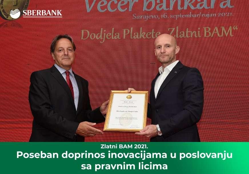 """Sberbank a.d. Banjaluka dobitnik nagrade Zlatni BAM za 2021. u kategoriji """"Poseban doprinos inovacijama u poslovanju sa pravnim licima"""""""
