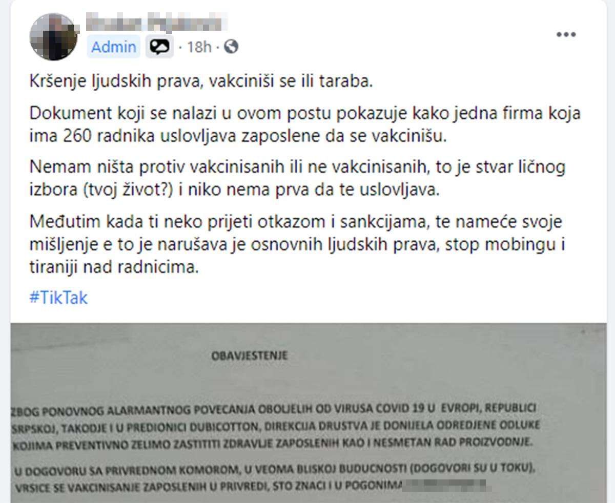 FOTO: Crna lista poslodavaca RS/Facebook/Screenshot